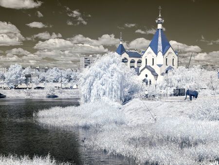 Temple of All Saints, in earth Russian. A photo is in an infrared range