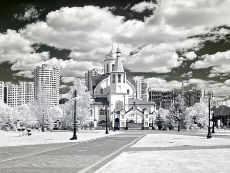 selectivity: Orthodox church. Church of Our Lady of Kazan. Photo in the infrared range