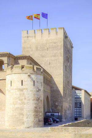 Aljaferia one of the best preserved Moorish palaces in city Saragossa Stock Photo - 29961988
