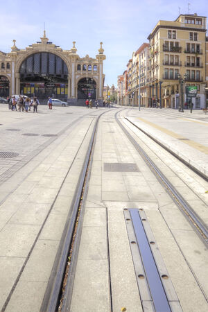 tramcar: Street in the historical center of city with tram-car ways