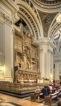 The interior of the greatest and beautiful catholic cathedral of Basilica of Our Lady of the Pillar is in city