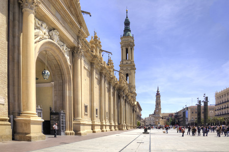 Facade of the greatest and beautiful catholic cathedral of Basilica of Our Lady of the Pillar is in city