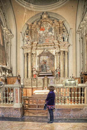 SPAIN, SARAGOSSA - May 4.2014: The interior of the greatest and beautiful catholic cathedral of Basilica of Our Lady of the Pillar is in city