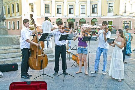 quintet: UKRAINE, ODESSA - June 11,2014: Free public concert of performers of classic music