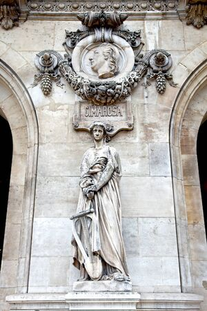 An ancient sculptural group Sculpture is girls and high relief of composer Domenico Cimarosa . Facade of Opera Granier