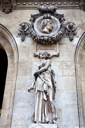 An ancient sculptural group Sculpture is girls and high relief of composer Pergolesi. Facade of Opera Granier