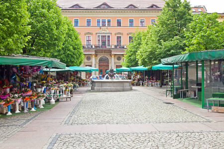 POLAND, WROCLAW - May 08.2014: Floral market in historical center of city