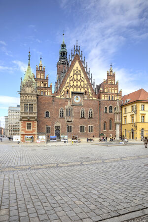 POLAND, WROCLAW - May 08.2014: Building of town hall is in the historical center of ancient city