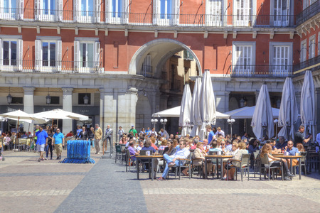 Spain, Madrid - May 05.2014: Street cafe on the main town square Mayor