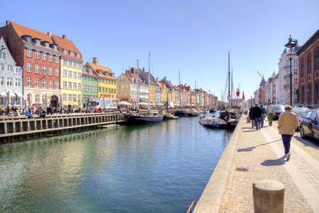 DENMARK, COPENHAGEN - May 02.2013: Picturesque houses and yachts along channels in city Copenhagen