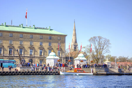 DENMARK, COPENHAGEN - May 02.2013: Royal boat in anticipation of the Queen of Denmark near the pie