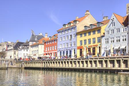 DENMARK, COPENHAGEN - May 02.2013: Picturesque houses along channels in city Copenhagen