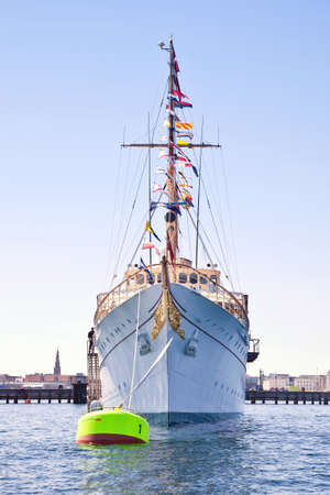 DENMARK, COPENHAGEN - May 02.2013: Royal Yacht Dannebrog was built at a shipyard in Copenhagen and transferred to the owner in 1932. Today it serves as the official and private residence of the royal family