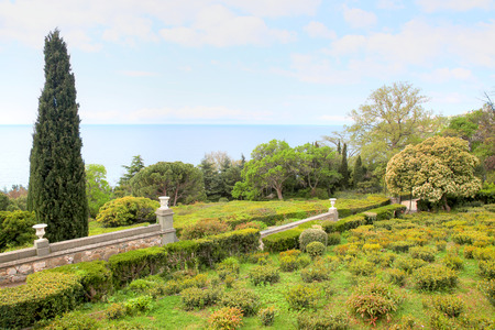 Coast of the Black sea. Ancient palace park of count Vorontsov 版權商用圖片