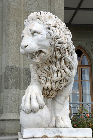 Crimea. Ancient sculpture of a lion in the palace of Count Vorontsov Park