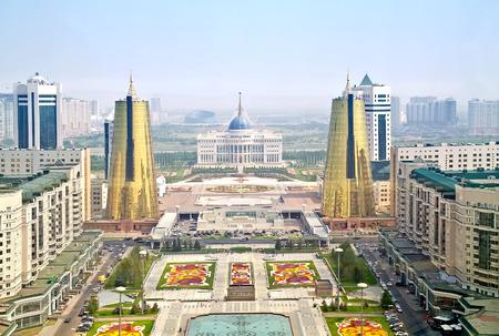 ASTANA, KAZAKHSTAN REPUBLIC - June 24, 2013: View of the Nurzhol Boulevard and Presidents Palace Acorda