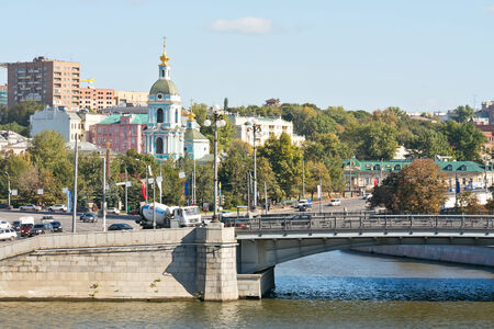 inflow: Moscow rivers. Place of inflow of the Jauza River in the Moskva River Stock Photo