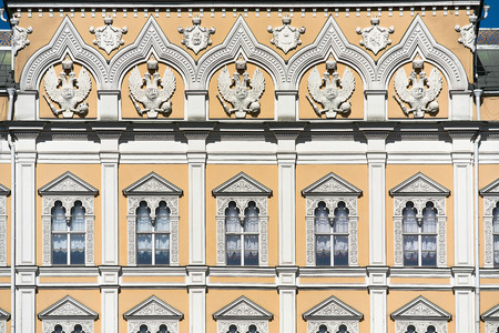 Fragment of facade of the Grand Kremlin Palace. Parade residence of president of Russian Federation. City Moscow