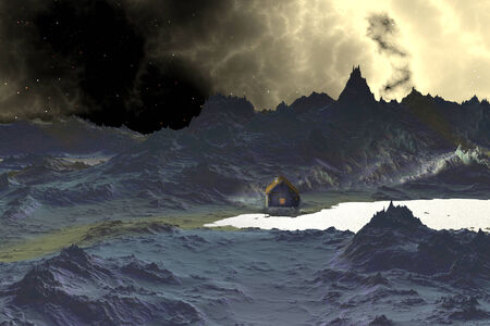 Alien planet with a lake and mountains. 3D rendered photo