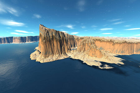 Alien planet with a ocean and mountains. 3D rendered photo