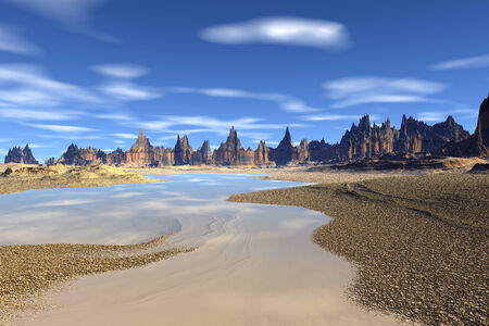 Alien planet - 3d rendered computer artwork photo