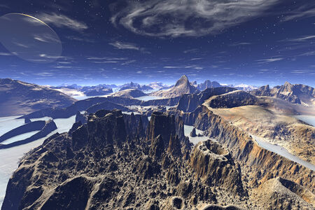 Alien planet - 3d rendered computer artwork. Rock photo