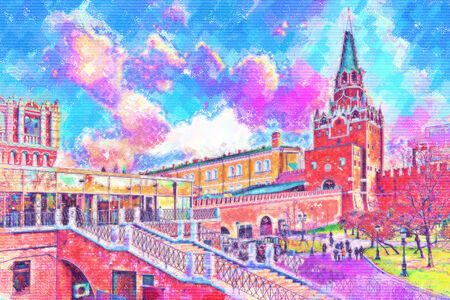 Troitskaya tower of Moscow Kremlin. Imitation of painting with style pastel photo