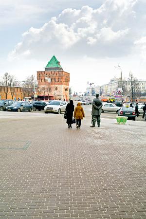 minin: RUSSIA, NIZHNY NOVGOROD - November 17.2014: Minin and Pozharsky Square in the historic center of the city