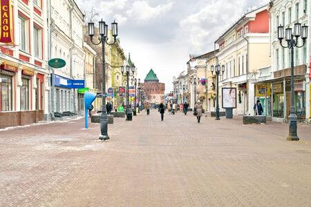 nizhny novgorod: RUSSIA, NIZHNY NOVGOROD - November 17.2014: Pedestrian street Bolshaya Pokrovskaya Editorial