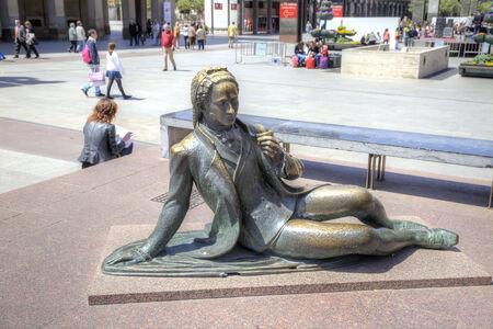 SPAIN, SARAGOSSA - May 4.2014: Figure of man of the XVIII century on an area Plaza del Pilar