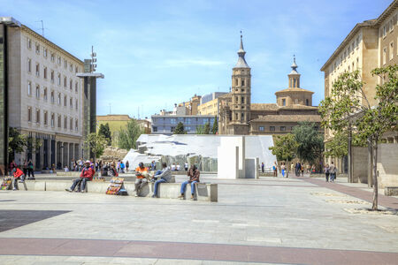 entertaining area: SPAIN, SARAGOSSA - May 4.2014: Main municipal area Plaza del Pilar in a historical center