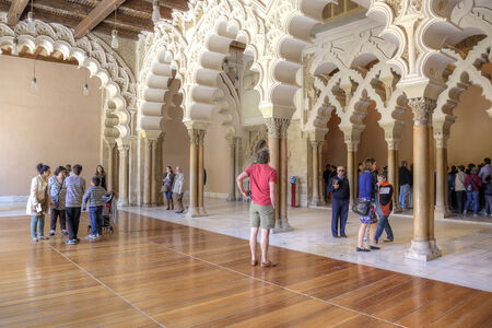 pilasters: SPAIN, SARAGOSSA - May 4.2014: Aljaferia one of the best preserved Moorish palaces in city Saragossa