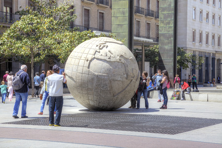 entertaining area: SPAIN, SARAGOSSA - May 4.2014: Enormous globe on  an area  Plaza del Pilar in a historical center