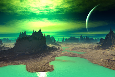 Alien Planet - 3D Rendered Computer Artwork. Rocks and sky photo