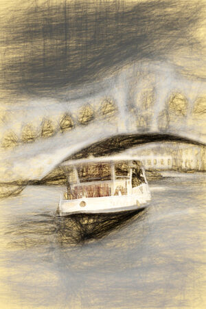 Pencil sketch is future pictures. Cutter on a background the bridge of Rialto in city Venice photo