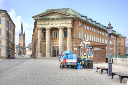 recycle area: SWEDEN, STOCKHOLM - May 04.2013:Garbage collection of urns in Stockholm