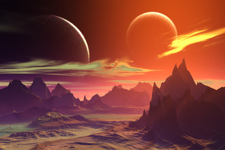alien landscape: Alien Planet - 3D Rendered Computer Artwork. Rocks and  moon Stock Photo