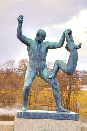 NORWAY, OSLO – April 29.2013: Enormous amount of sculptures and sculptural groups of author Gusava Vigeland in Frogner park Editorial