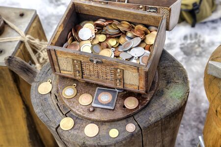 commemorative: RUSSIA, ROSTOV - January 03.2015: Souvenir commemorative coins and blanks for coinage in the Kremlin