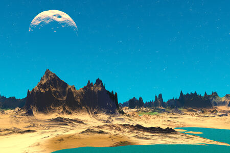 lough: Alien Planet - 3D Rendered Computer Artwork. Rocks and  lake Stock Photo