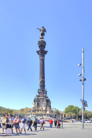 SPAIN, BARCELONA - May 5.2014: Christopher Columbus monument built in 1888 for the World Exhibition in Barcelona