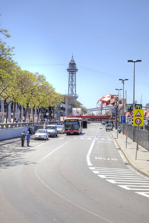 exhibition complex: SPAIN, BARCELONA - May 5.2014: Road in municipal port and to the trade exhibition complex