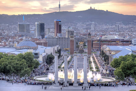 SPAIN, BARCELONA - May 5.2014: View of the singing fountains of Montjuic, landmark of the city