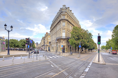 FRANCE, BORDEAUX - May 01. 2014: Streets and squares in the historic center of the ancient city in the early morning