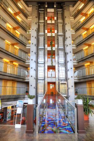 inwardly: SPAIN, BARCELONA - May 5.2014: Interior of modern municipal hotel Editorial