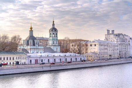 merchant: RUSSIA, MOSCOW - November 22.2014: Old merchant houses and the Church of St. Nicholas
