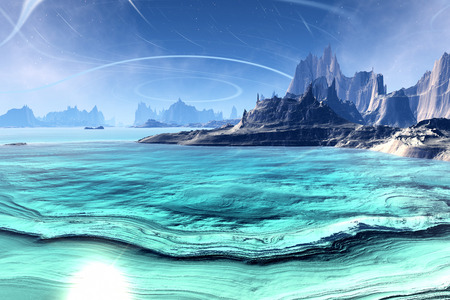 alien landscape: Alien Planet - 3D Rendered Computer Artwork. Rocks and  lake Stock Photo