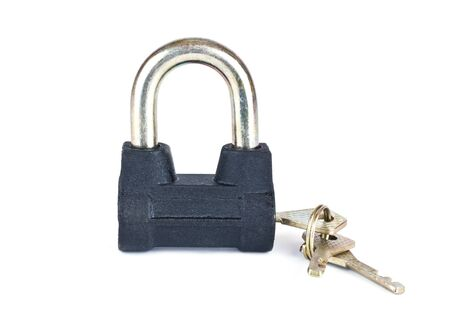 in copula: Economic lock with the copula of the keys is isolated on a white background