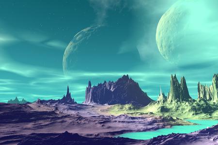 Alien Planet - 3D Rendered Computer Artwork. Rocks and  moon Standard-Bild