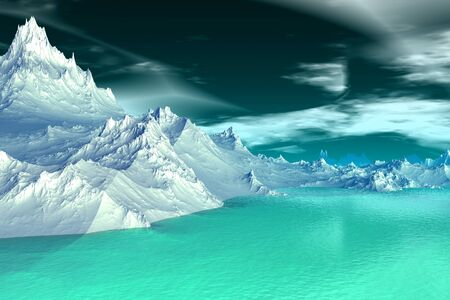 Alien Planet - 3D Rendered Computer Artwork. Rocks and  lake Stock Photo